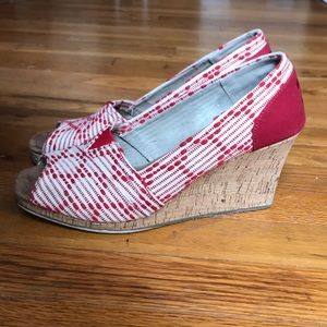 Toms Peep Toe Embroidered Cork Wedges